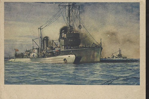 Germany, 1943 Feldpost card showing submarine tender, Russia to Bavaria