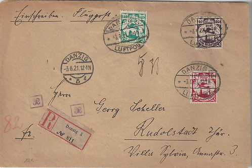 Danzig, 1921 Registered Airmail cover from Danzig to Rudolstadt, Germany