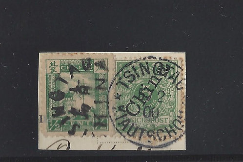 1900, Chefoo/German Offices in China mixed franking on piece, Tsingtao CDSs