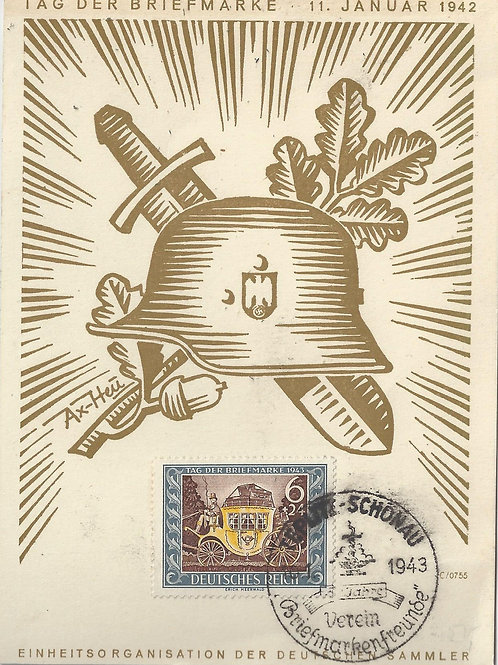 """Germany, Stamp Day, 1942 commemorative card with """"Ax-Heu"""" illustration"""