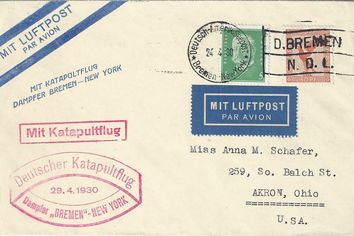 "Germany: 1930 Steamship ""Bremen"" Catapult mail from Bremen to Akron, Ohio"