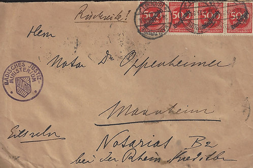 Germany 1923 Official Inflation cover, Karlsruhe to Mannheim