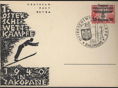 Poland: Generalgouvernement, 1940 Commemorative card w/Zakopane ski meet cancel