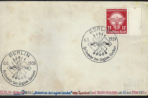 Germany, 1939 cover with Return of Condor Legion cancel
