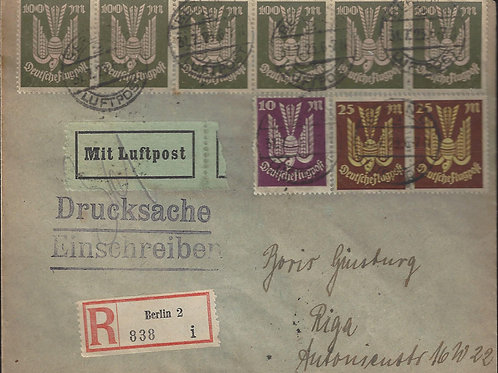 Germany, 1923 airmail cover, Registered Printed Matter, Berlin to Riga