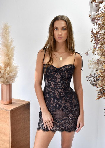 For Love And Lemons Tati Lace Corset Dress Black