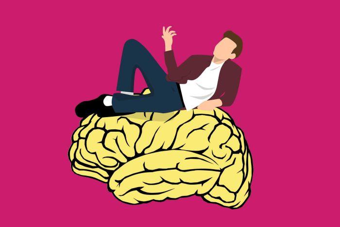 Man lying on a brain