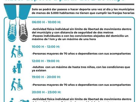 Horarios y normas para pasear y hacer deporte