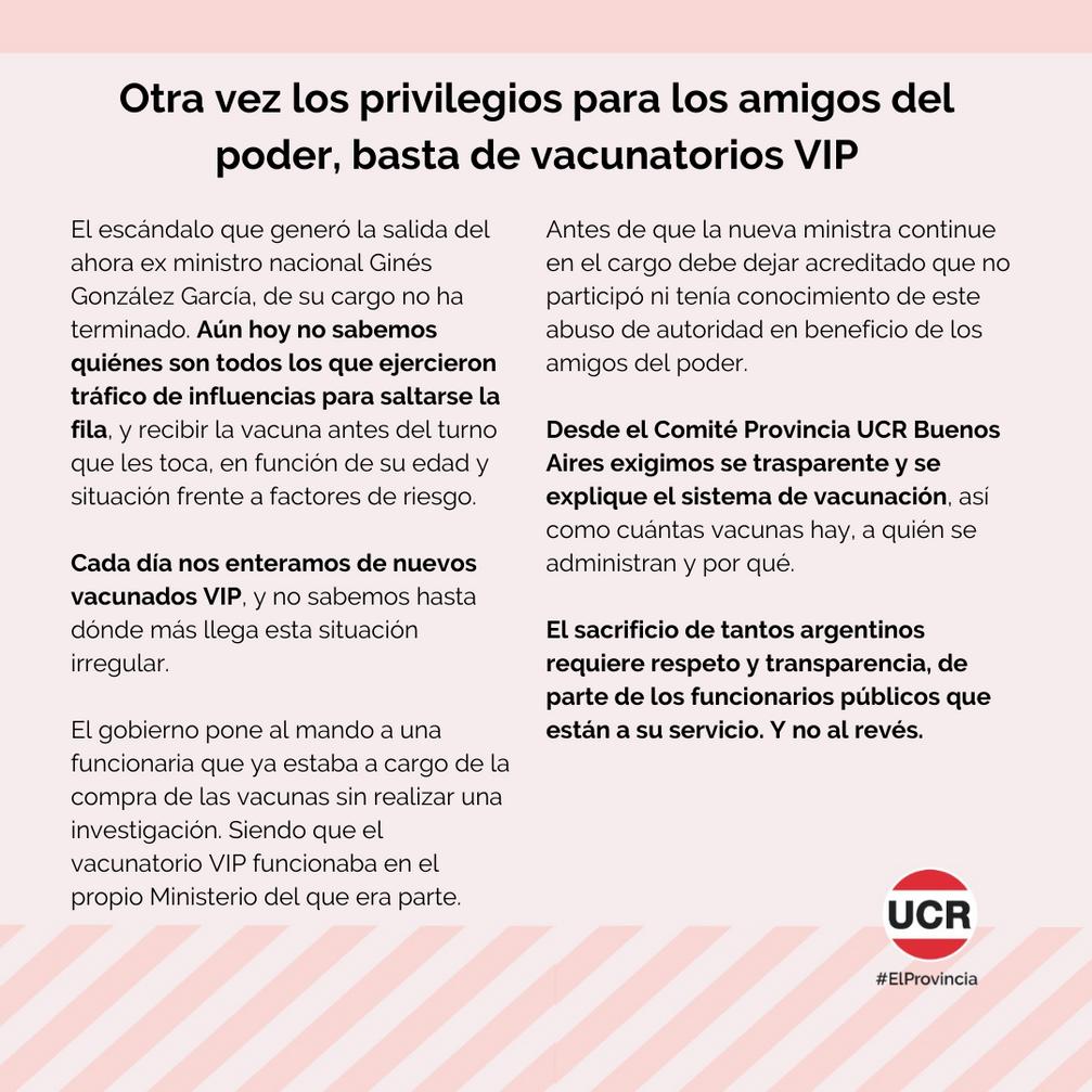 Otra vez los privilegios para los amigos del poder, basta de vacunatorios VIP