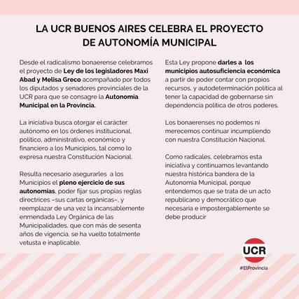 LA UCR BUENOS AIRES CELEBRA EL PROYECTO DE AUTONOMÍA MUNICIPAL