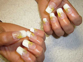 French tips on Nail extension with yellow and silver flowers