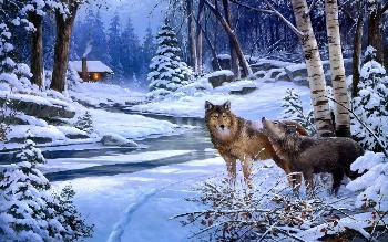 The cabin with wolves near by