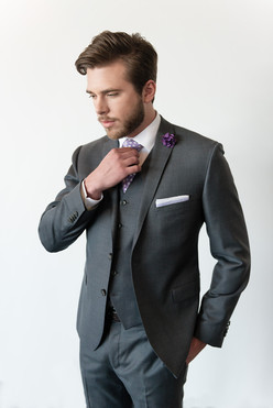 Grey 3 piece groom suit