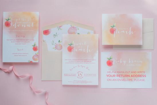 Southern peach baby shower stationery su