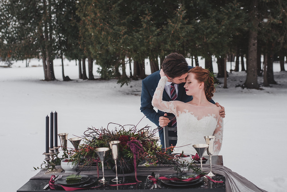 Outdoor winter wedding reception
