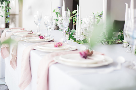 Spring blush wedding tablescape decor