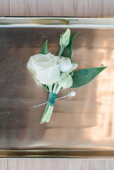 White lisianthus boutonniere