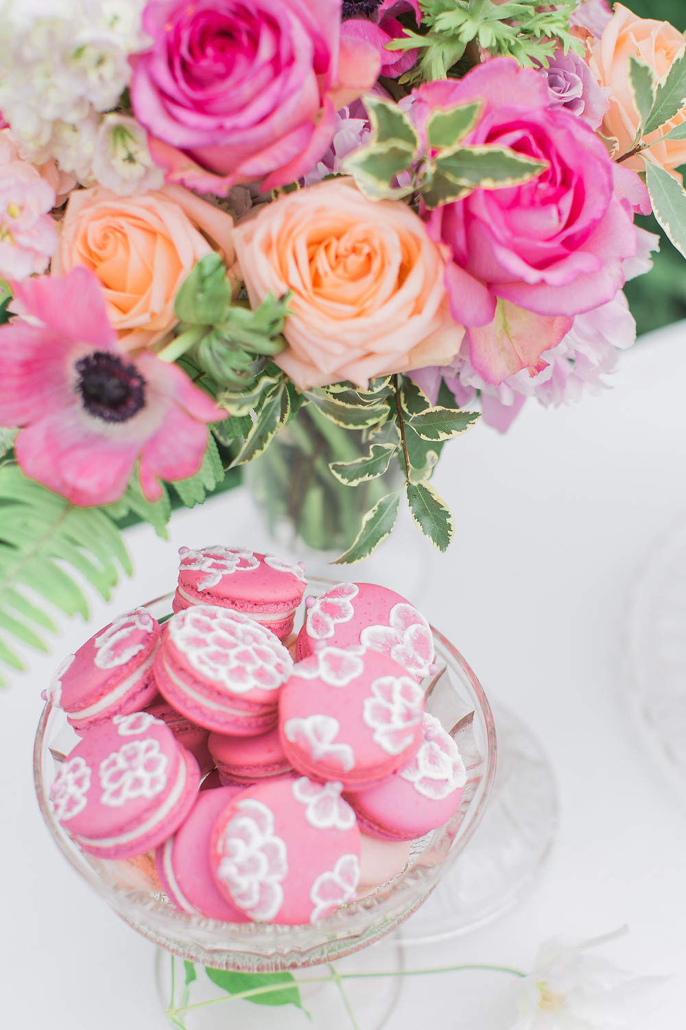 Pink Yarrow Macarons and Flowers
