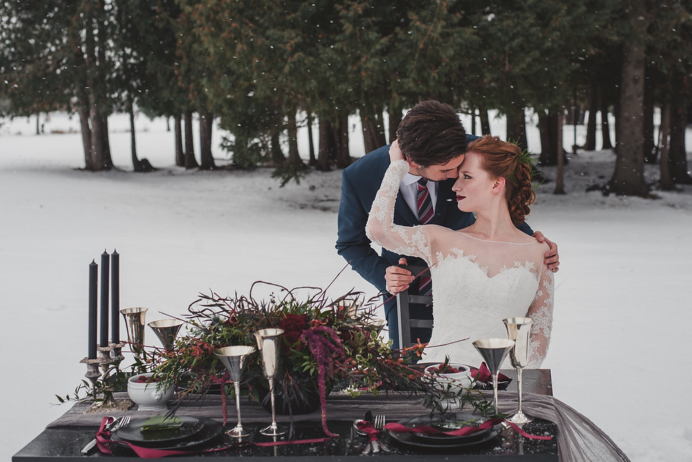 Bride and groom at table