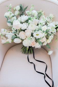 All white spring wedding bouquet