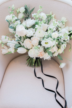 All white spring wedding bouquet