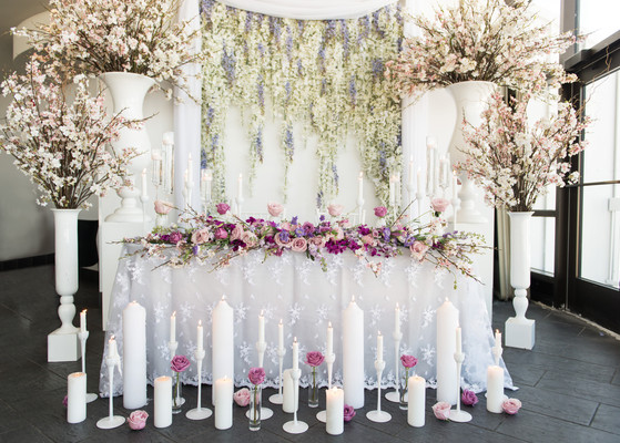 spring wedding tablescape flowers and candles