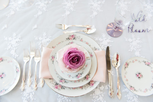 spring floral china wedding place setting