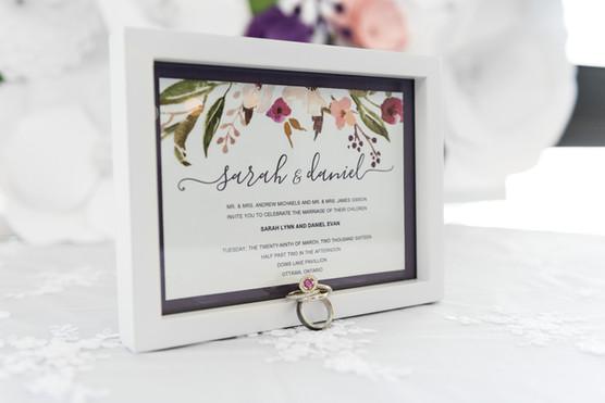 Floral sketch wedding invitation