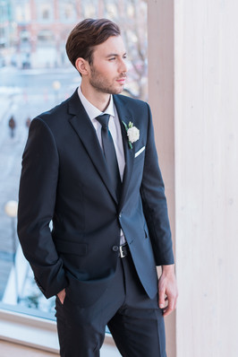 l'Hexagone black groom suit