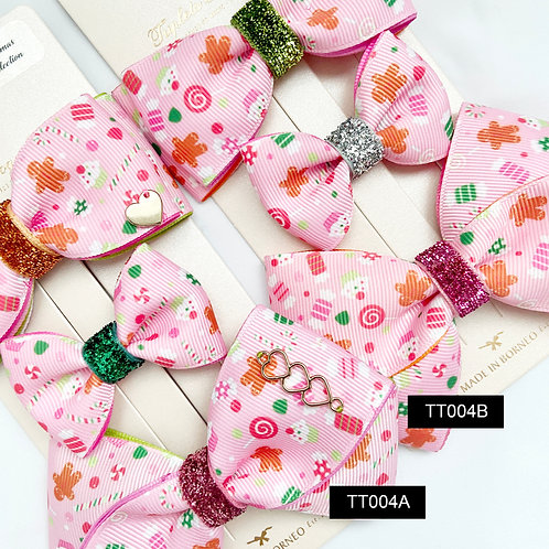 Triplet Trilogy Bow | Christmas Printed Ribbon Bow Set | Baby Mini, Midi, X Bow