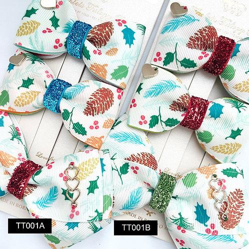 Triplet Trilogy Bow | Christmas Printed Ribbon Bow Set | Twin Midi & X Bow S