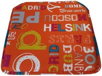 Cojín silla Estampado Letras Naranja