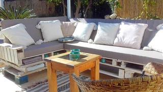 Set de terraza goma espauma y cojines