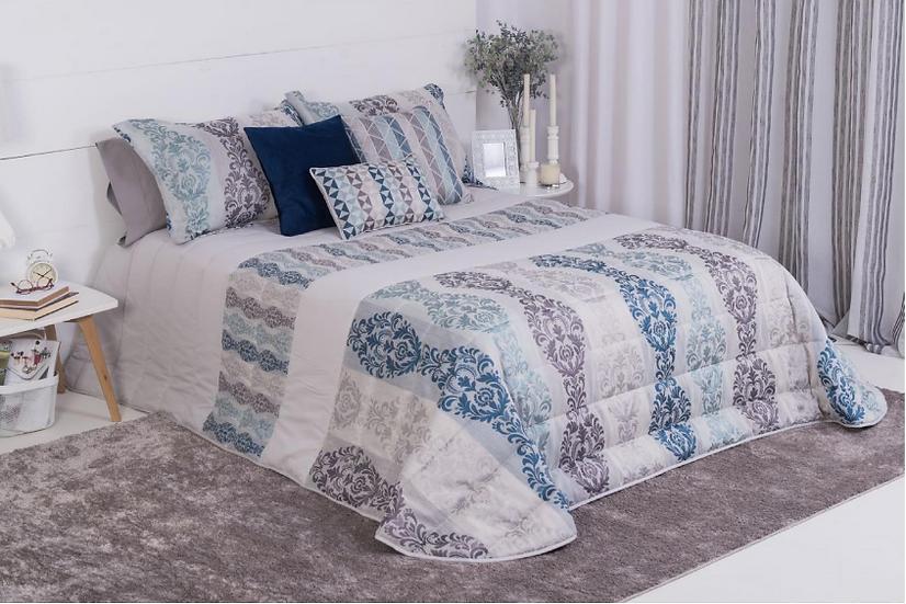 Comforter Jacquard Azul Gris