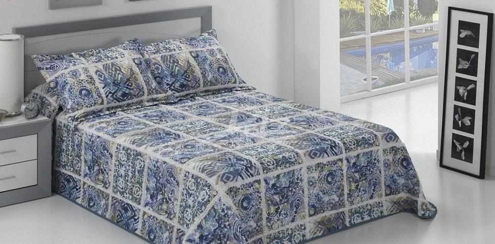 Colcha Bouti Patchwork Azul