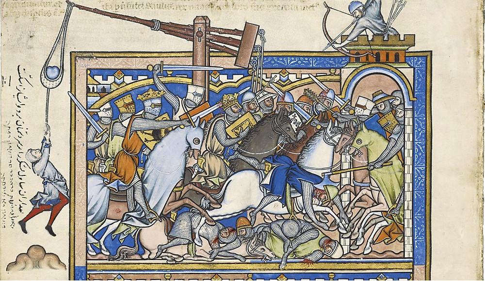 """תמונה 3: המלחמה בין שאול לעמון (שמואל א' י""""א) פרט מ'תנך מורגן', פריז שנות הארבעים של המאה ה-13."""