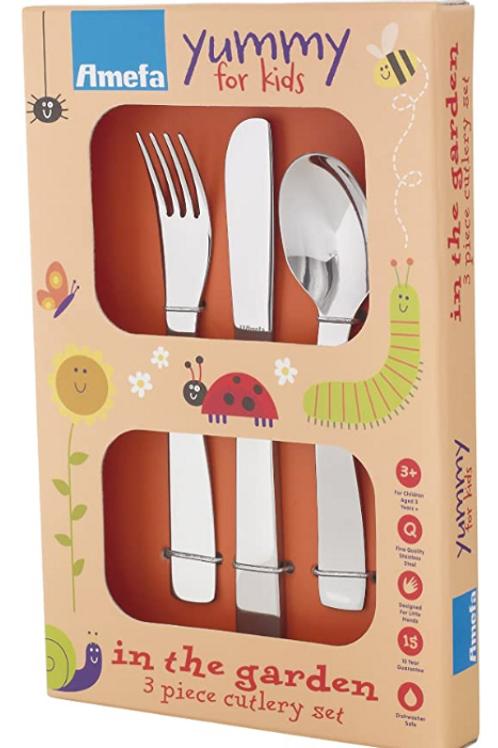 Amefa Kids In The Garden Kids Cutlery Set Stainless Steel 3 Piece