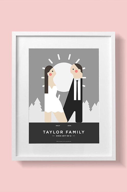 Wedding portrait, Bride and groom digital custom Illustration from Myminifam