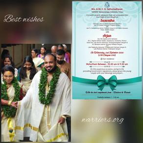 Arjun married Saswatha today (2-9-2020).Best wishes: warriers.org