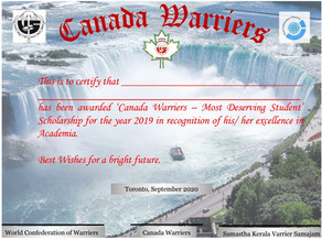 Canada Warriers – Most Deserving Student (MDS) -Scholarship 2019