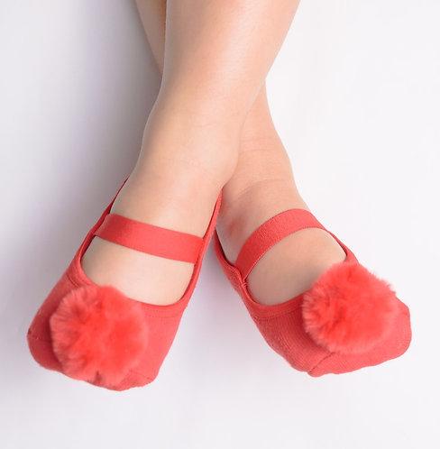 Kids Red faux fur pompom