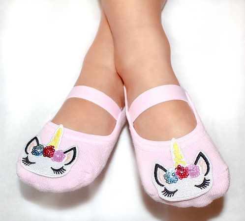 Girls Pink Unicorn tiptoes