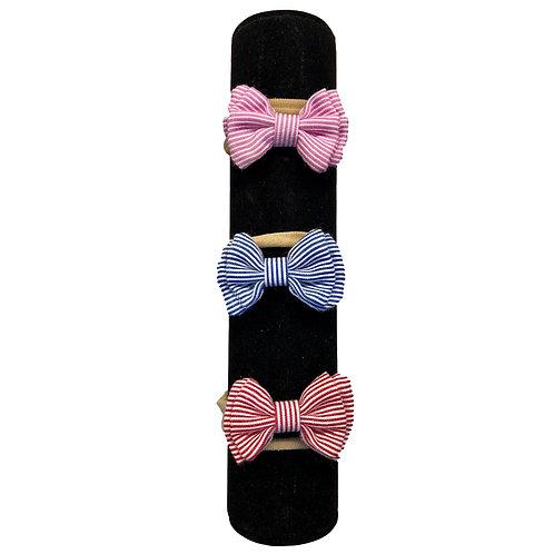 Stripy Headbands- pink, red or navy