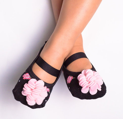 Kids Pink & Black Floral-with Strap