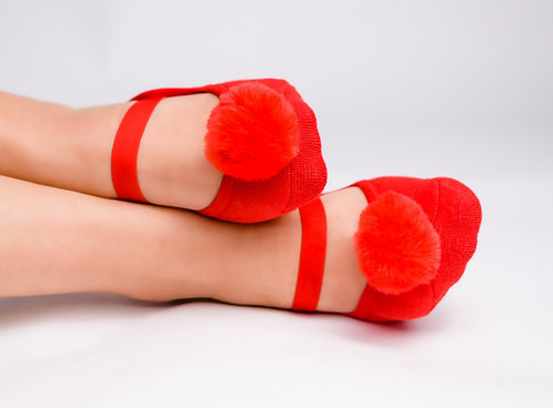 Ladies Red Faux fur pompom
