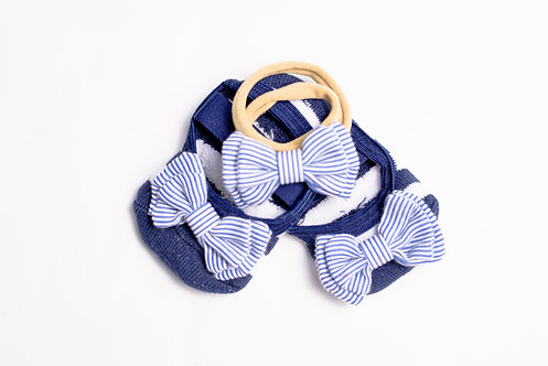 Baby Navy & White Bow Bundle