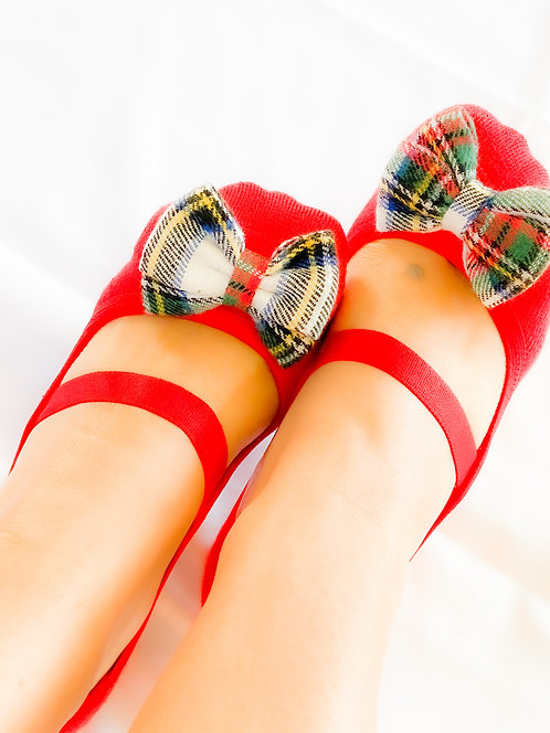 Ladies Holidays 2020 Plaid Bow in Red