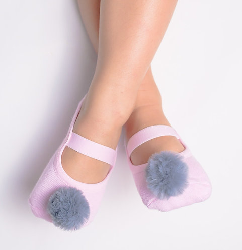 Kids Pink & Grey faux fur pompom