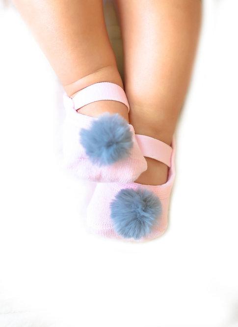 Baby Pink & Grey faux fur pompom