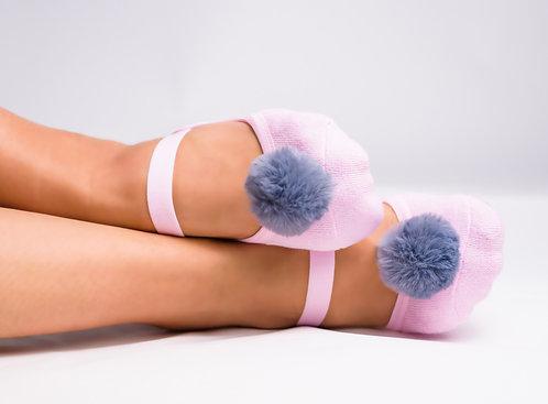 Ladies Pink & Grey Faux fur pompom